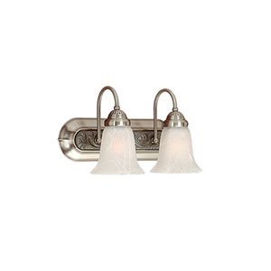 Satin Nickel/Granite Two-Light Bath Light with Faux Alabaster Glass