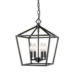 3234-MB Corona Matte Black Four-Light Lantern Pendant