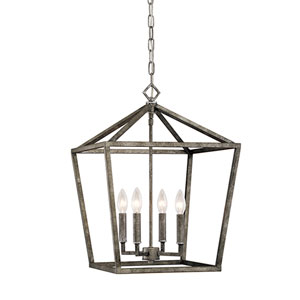 Antique Silver 16-Inch Four-Light Pendant