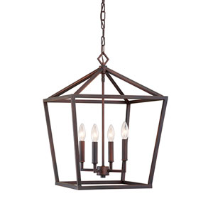 Rubbed Bronze 24x16-Inch Four-Light Pendant