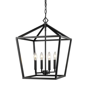 3244-MB Corona Matte Black Four-Light Lantern Pendant