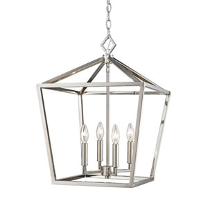 3244-SN Corona Satin Nickel Four-Light Lantern Pendant