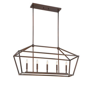 Rubbed Bronze Five-Light Linear Pendant