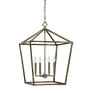 Antique Silver 20-Inch Four-Light Pendant