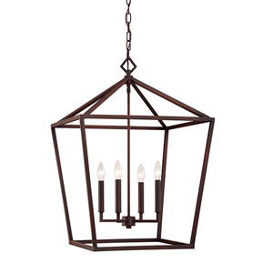 Rubbed Bronze 20-Inch Four-Light Pendant