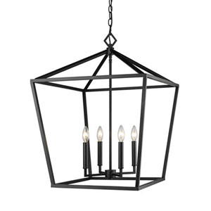 3254-MB Corona Matte Black Four-Light Lantern Pendant