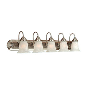 Satin Nickel/Granite Five-Light Bath Light with Faux Alabaster Glass