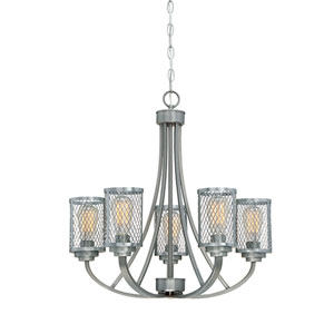 Akron Brushed Pewter Five-Light Chandelier
