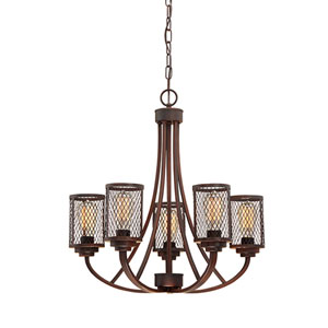 Akron Rubbed Bronze Five-Light Chandelier