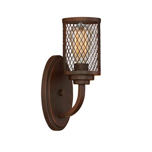 Akron Rubbed Bronze One-Light Sconce