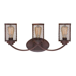 Akron Rubbed Bronze Three-Light Vanity