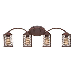Akron Rubbed Bronze Four-Light Vanity