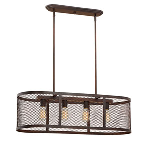 Akron Rubbed Bronze Four-Light Linear Pendant