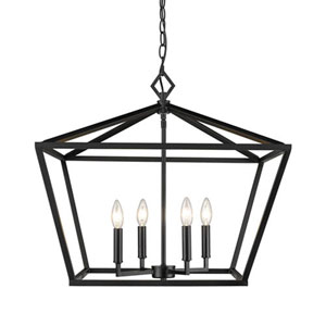 3294-MB Corona Matte Black Four-Light Lantern Pendant