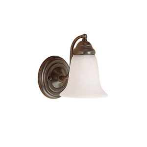 Colonial Bronze One-Light Bath Light with Faux Alabaster Glass