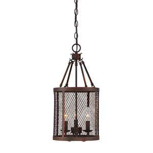 Akron Rubbed Bronze Three-Light Pendant
