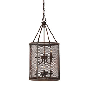 Akron Rubbed Bronze Six-Light Pendant