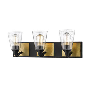 Matte Black and Heirloom Bronze Three-Light Vanity with Clear Seeded Glass