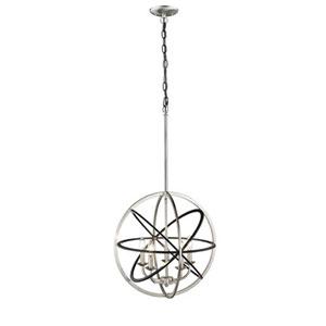 Matte Black and Brushed Nickel Five-Light Pendant