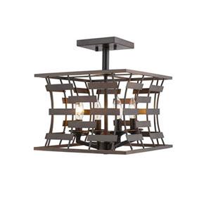 Rubbed Bronze Four-Light Semi-Flush Mount