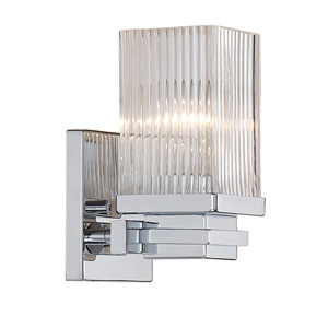 Chrome One-Light Vanity with Clear Fluted Glass
