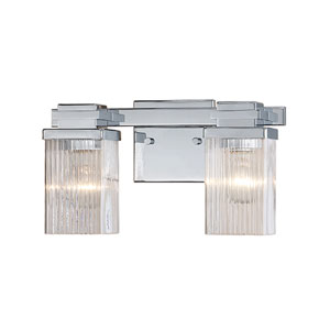 Chrome Two-Light Vanity with Clear Fluted Glass