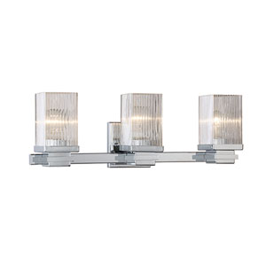 Chrome Three-Light Vanity with Clear Fluted Glass