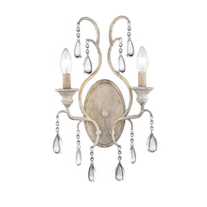 Vintage White Two-Light Wall Sconce