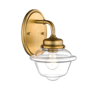 Neo-Industrial Heirloom Bronze One-Light Wall Sconce with Clear Schoolhouse Glass