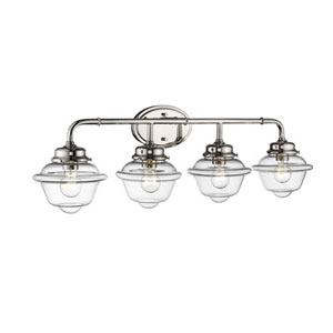 Neo-Industrial Polished Nickel Four-Light Vanity with Clear Schoolhouse Glass