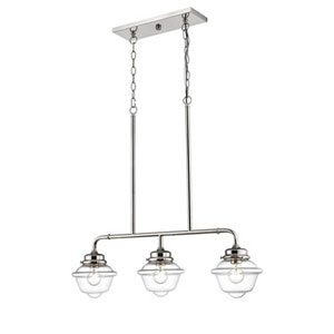 Neo-Industrial Polished Nickel Three-Light Island Pendant with Clear Schoolhouse Glass
