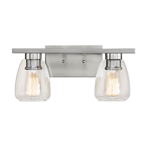 Satin Nickel Two-Light Vanity with Clear Glass