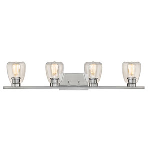 Satin Nickel Four-Light Vanity with Clear Glass