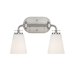 Satin Nickel Two-Light Vanity with Etched White Glass