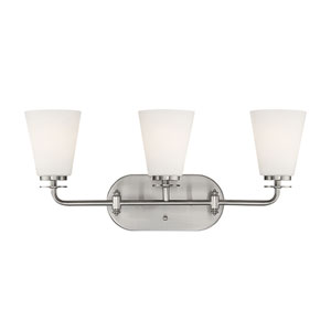 Satin Nickel Three-Light Vanity with Etched White Glass