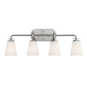 Satin Nickel Four-Light Vanity with Etched White Glass