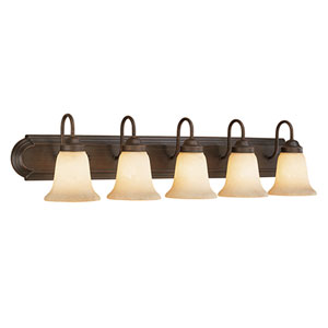 Rubbed Bronze Five-Light Bath Light with Turinian Scavo Glass