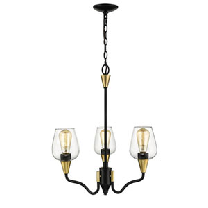 Norwalk Matte Black and Gold Three-Light Chandelier with Clear Glass