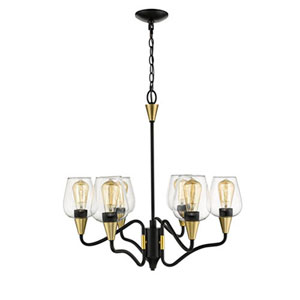 Norwalk Matte Black and Gold Six-Light Chandelier with Clear Glass