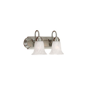 Satin Nickel Two-Light Bath Light with Faux Alabaster Glass