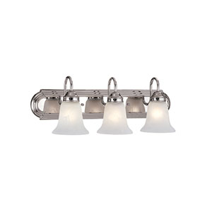 Chrome Three-Light Bath Light with Faux Alabaster Glass