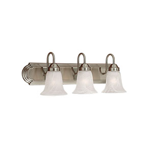 Satin Nickel Three-Light Bath Light with Faux Alabaster Glass