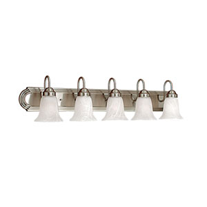 Satin Nickel Five-Light Bath Light with Faux Alabaster Glass