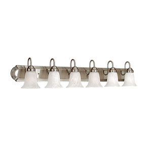 Satin Nickel Six-Light Bath Light with Faux Alabaster Glass
