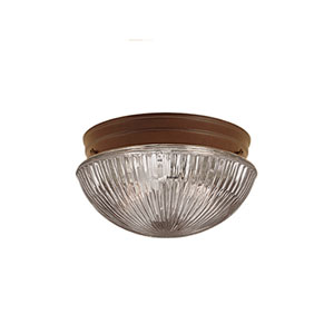 Bronze One-Light Flush Mount with Clear Prismatic Glass
