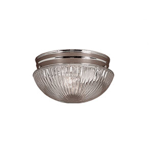 Chrome Two-Light Flush Mount with Clear Prismatic Glass