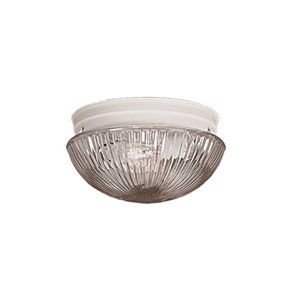 Textured White Flushmount Ceiling Light w/Clear Prismatic Glass Shade