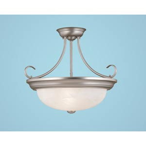 Satin Nickel Three-Light Semi-Flush with Faux Alabaster Glass