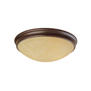 Euro Bronze Three-Light Flush Mount with Turinian Scavo Glass
