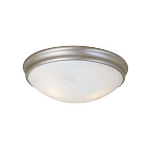 Satin Nickel Three-Light Flush Mount with Faux Alabaster Glass